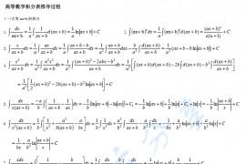 考研数学高等数学积分表推导全过程