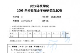 2009年武汉科技学院624马克思主义原理考研真题