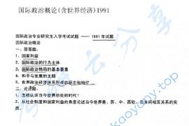 1991年北京大学国际政治概论(含世界经济)考研真题