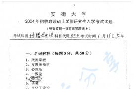 2004年安徽大学324传播学原理考研真题