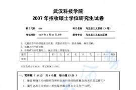 2007年武汉科技学院624马克思主义原理A考研真题